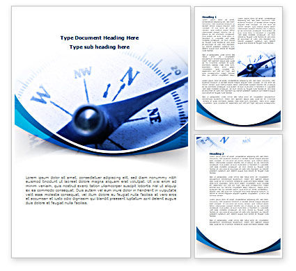 Blue Compass Word Template, 08568, Business Concepts — PoweredTemplate.com
