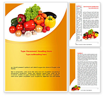 Vegetable Diet Word Template, 08574, Food & Beverage — PoweredTemplate.com