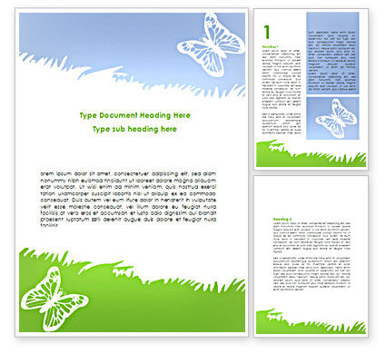 Summer Butterfly Word Template, 08577, Holiday/Special Occasion — PoweredTemplate.com