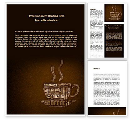Coffee Break With Various Coffee Word Template, 08591, Food & Beverage — PoweredTemplate.com