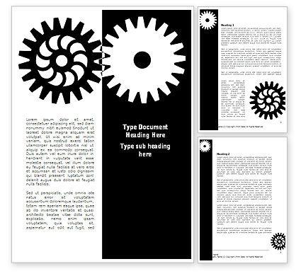 Consulting: Modelo do Word - engrenagens preto e branco #08632