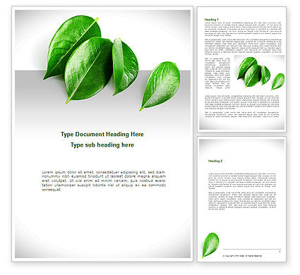 Agriculture and Animals: Green Leaves Word Template #08639