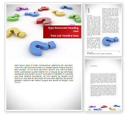 Question Marks In Various Colors Word Template, 08641, Consulting — PoweredTemplate.com