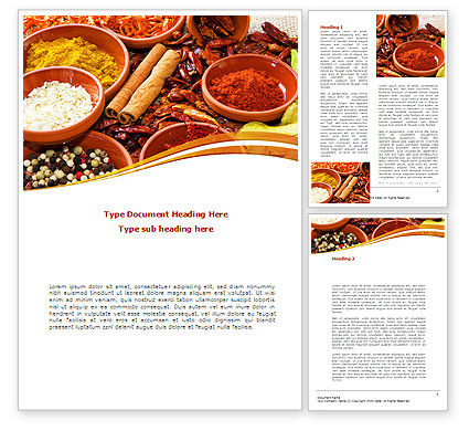 Fragrant Spices Word Template, 08660, Food & Beverage — PoweredTemplate.com