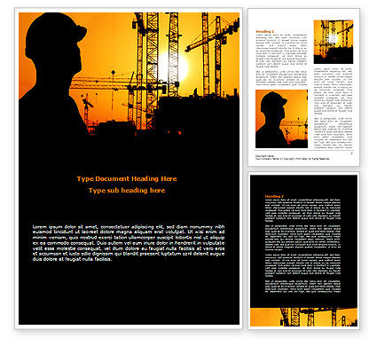 Construction: City Silhouette On The Sunset Word Template #08682
