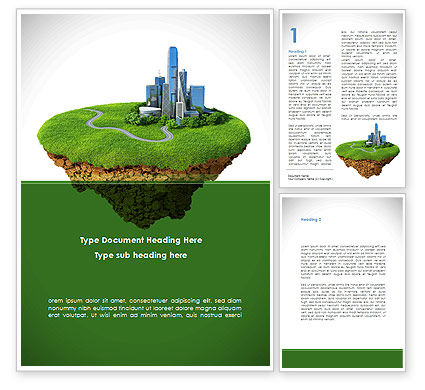 Green Downtown Word Template, 08688, Construction — PoweredTemplate.com