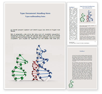 Medical: Plastic DNA Model Word Template #08704