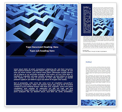 Blue Labyrinth Word Template, 08706, Consulting — PoweredTemplate.com