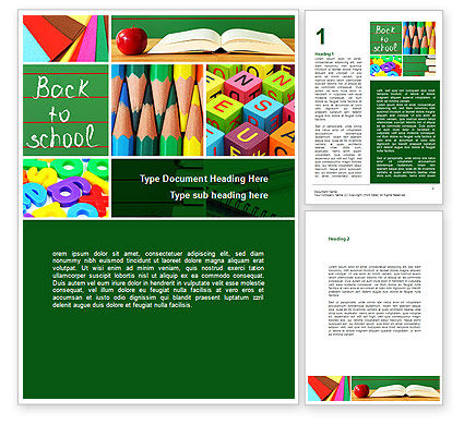 Education & Training: School Stationery For Learning Process Word Template #08715