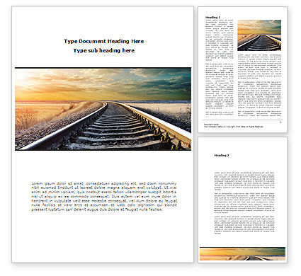 Railroad Stretching Into The Distance Word Template, 08736, Construction — PoweredTemplate.com