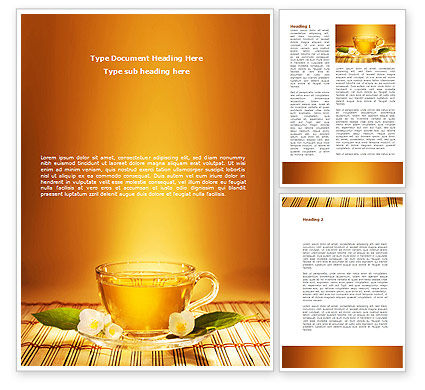 Jasmine Tea Word Template, 08754, Food & Beverage — PoweredTemplate.com