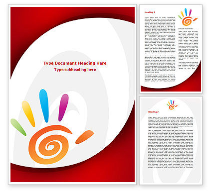 Colorful Palmprint Word Template, 08774, Religious/Spiritual — PoweredTemplate.com
