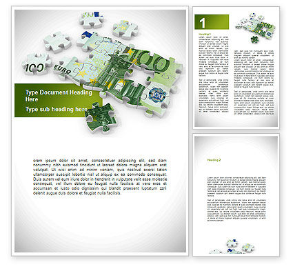 Euro Puzzle Word Template, 08777, Financial/Accounting — PoweredTemplate.com