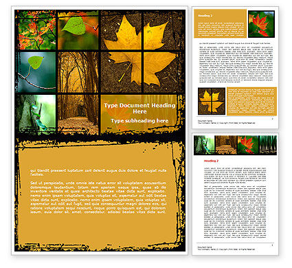 October's Leaves Word Template, 08791, Nature & Environment — PoweredTemplate.com