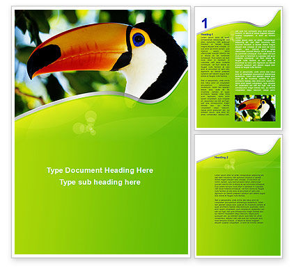 Agriculture and Animals: Southern Mexico Toucan Word Template #08813
