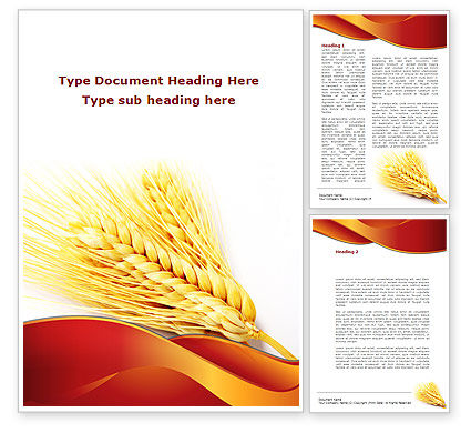 Wheat Harvest Word Template, 08814, Agriculture and Animals — PoweredTemplate.com