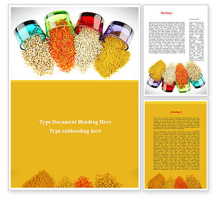 Spices Word Template, 08817, Food & Beverage — PoweredTemplate.com