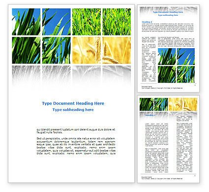 Wheats Word Template, 08821, Agriculture and Animals — PoweredTemplate.com