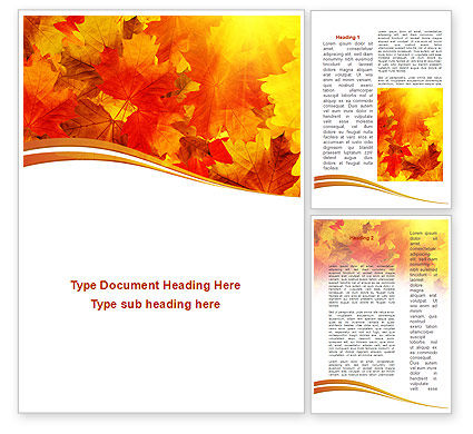 Red Leaves in Fall Word Template