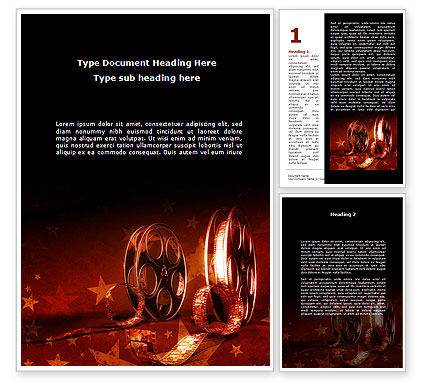 Careers/Industry: Film Cassettes In A Dark Red Colors Word Template #08847