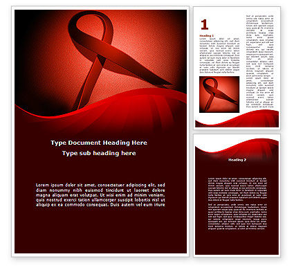 Medical: Red Ribbon Awareness Word Template #08856