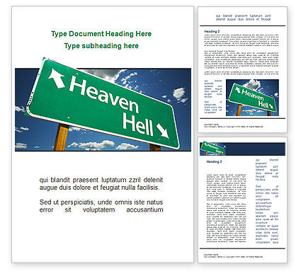 Heaven Or Hell Word Template, 08877, Religious/Spiritual — PoweredTemplate.com