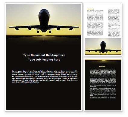Jet Airliner Word Template, 08883, Cars/Transportation — PoweredTemplate.com