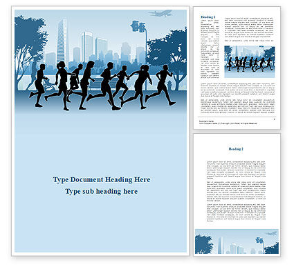 Jogging Theme Word Template, 08895, Sports — PoweredTemplate.com