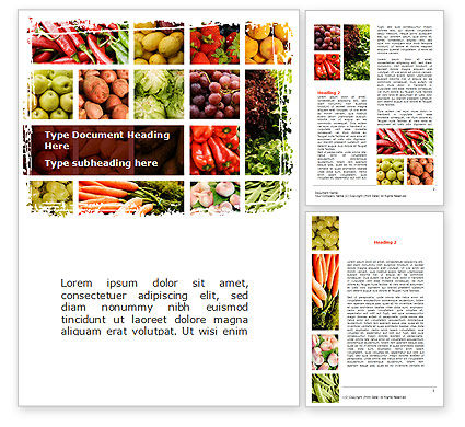 Vegetables Collage Word Template, 08913, Agriculture and Animals — PoweredTemplate.com