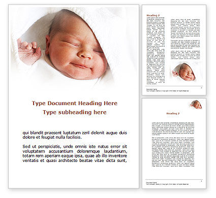 People: Little Baby Sleeping Word Template #08919