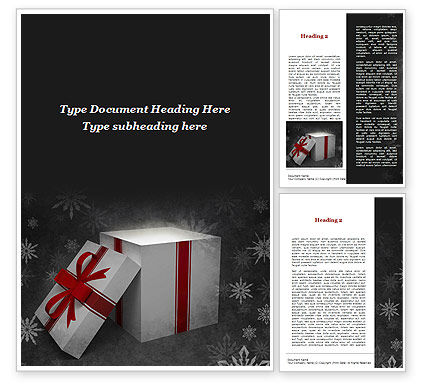 Holiday/Special Occasion: Christmas Present Box Word Template #08920