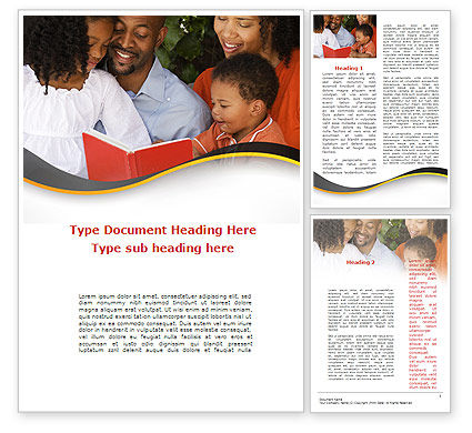 People: Happy Family Reading Bible Word Template #08942