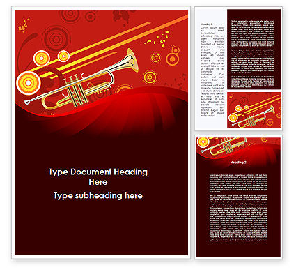 Art & Entertainment: Trumpet Music Word Template #08945