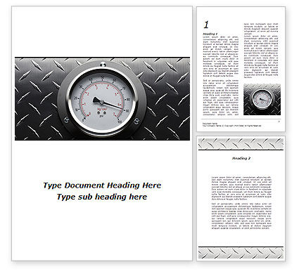 Pressure Gauge Word Template, 08957, Utilities/Industrial — PoweredTemplate.com