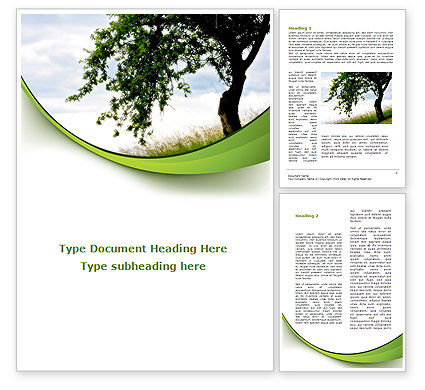 Nature & Environment: Green Tree Word Template #08958