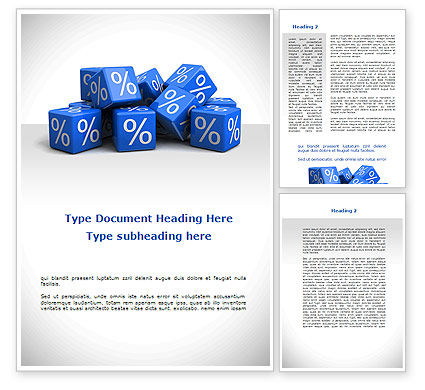 Percent Cubes Word Template, 08963, Financial/Accounting — PoweredTemplate.com