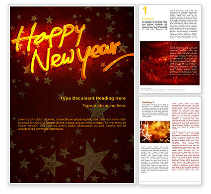 Holiday/Special Occasion: Happy New Year Theme Word Template #08965