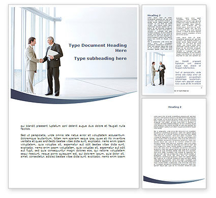 Business Meeting In A Lobby Word Template, 08985, People — PoweredTemplate.com