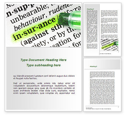 Insurance Interpretation Word Template, 08994, Careers/Industry — PoweredTemplate.com