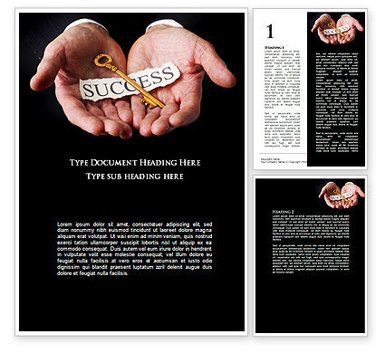 Business Concepts: Key To Success In Your Hands Word Template #08995