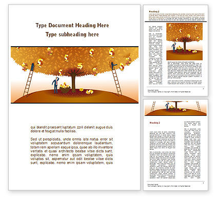 Financial/Accounting: Money Tree in Orange Word Template #08996