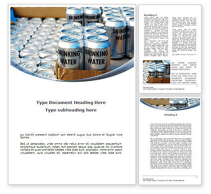 Cans of Water Word Template, 08999, Careers/Industry — PoweredTemplate.com