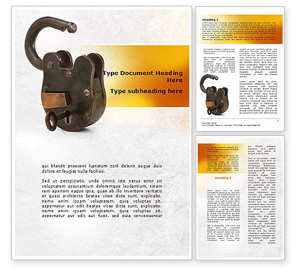 Massive Padlock Word Template, 09008, Consulting — PoweredTemplate.com