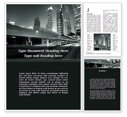 Construction: Night City Traffic Word Template #09013