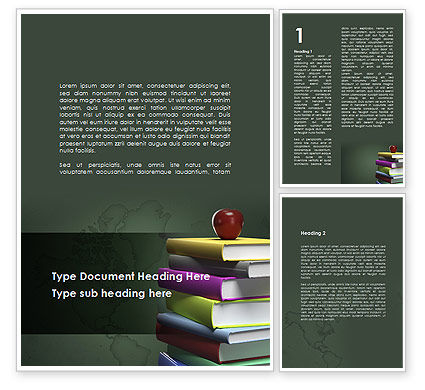Education & Training: Books Stack and Apple Word Template #09018
