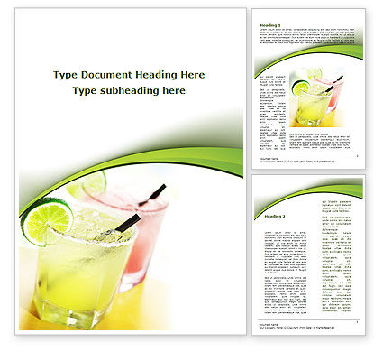 Cocktail with Lemon Word Template, 09020, Food & Beverage — PoweredTemplate.com