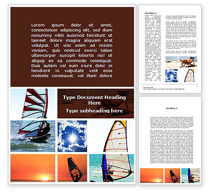 Windsurfing Word Template, 09041, Sports — PoweredTemplate.com