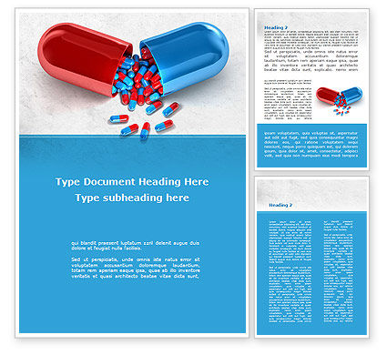 Medical: Red And Blue Pilule Word Template #09066