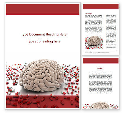 Medical: Human Brain Medicine Word Template #09077