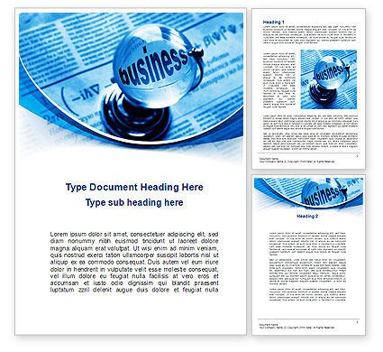 Business: Crystal Globe on the Newspaper Word Template #09088